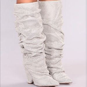 FASHION NOVA silver glammed out boot